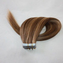 Wholesale Piano Color 4P27 14P24 24p613 Tape In Human Hair extensions 150g 60pieces peruvian Hair blonde Double Sides Adhesive Cheap Free Shipping
