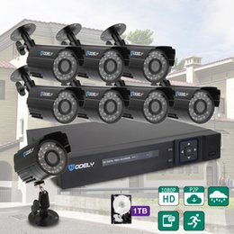 Dvr Channel Cameras Australia - Hodely 8-Channel 1080N H Indoor Outdoor DVR Kit with 8pcs 720P 1 4 Color CMOS Camera Black 1TB HDD
