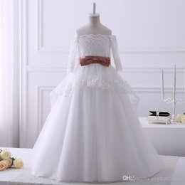 Pics Wedding Dresses Australia - Hot Sale Real Pics Lace Appliques Flower Girl Dresses For Wedding Floor Length 34 Sleeves Kids Wedding Party Gown With Sash