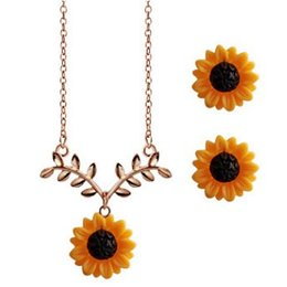 $enCountryForm.capitalKeyWord UK - AWESOME SUNFLOWER TREE BRANCH WOMEN EARRING NECKLACE 2IN1 JEWELRY SET FASHION HOT POPULAR PARTY ACCESSORIES EAR STUD JEWELRIES NECKLACES SET