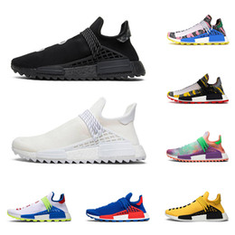 Green yellow sneakers online shopping - 2020 nmd human race hu pharrell williams men women running shoes NERD Black Blank Canvas Homecoming Solar Pack mens trainer sports sneaker