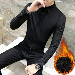 $enCountryForm.capitalKeyWord Australia - Hot Sale Men Dress Shirt Autumn Winter Thick Shirt Men Casual Slim Fit Warm Streetwear Shirts For Clothes Night Club Blouses
