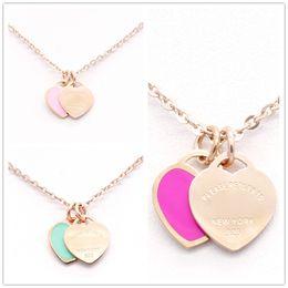 $enCountryForm.capitalKeyWord Australia - MICHAEL KENDRA Double Stainless Steel Jewelry Pink Blue Rose Heart English Letters Pendant Necklace Women Lady Elegant Jewelry