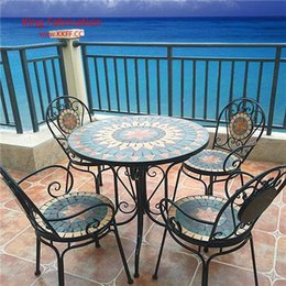 garden tables chairs Australia - European balcony table and chair iron outdoor chair garden leisure cafe table