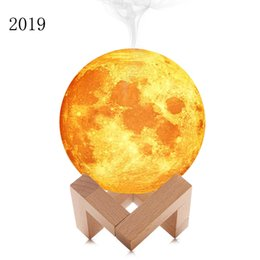 lighting oil lamps UK - 2019 880ML Air Humidifier 13cm 3D Moon Lamp light Diffuser Aroma Essential Oil USB Ultrasonic Humidificador Night lights Mist Purifier