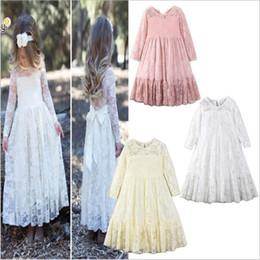 Slim full lace wedding dreSS online shopping - Baby Clothes Dresses Girls Wedding Gown Dress Kids Princess Party Dress Summer INS Dresses Retro Lace Long Sleeve Slim Dress Costume B4475
