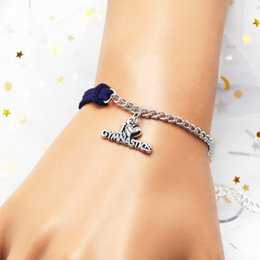 Valentine Gifts Australia - Hot Exquisite Dark Navy Leather Suede Woven Silver Infinity Love I Heart Gymnastics Bracelet & Bangles Women Men Jewelry Valentines Day Gift