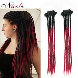 $enCountryForm.capitalKeyWord Australia - Nicole 20 Inch Handmade Dreadlocks Crochet Braiding Hair Extensions Ombre Color PInk Blue Synthtic Crochet Hair 5 Strands  Pack For Women