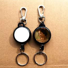 $enCountryForm.capitalKeyWord Australia - sublimation blank plastic retractable key ring Chain hot transfer printing blank consumables can print it on both sides