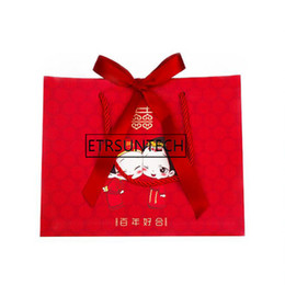 double happiness wedding gift Australia - 300pcs Chinese Traditional Red Double Happiness Wedding Gift Paper Bag With Handle Package Candy Bags Bride And Groom