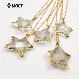 Necklaces Pendants Australia - Wt-n1119 Wholesale Fashion Diy Knotted Crystal Quartz Necklace Pendant Natural Stone Star With Gold Trim Necklace Jewelry J190530