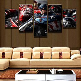 Figure Paintings America Australia - Captain America Mit Iron Man ,5 Pieces Home Decor HD Printed Modern Art Painting on Canvas   Unframed   Framed