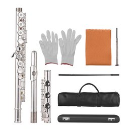 Discount hole flute - Muslady 17-Hole Concert C Flute Open  Closed Pore Woodwind Instrument with Cleaning Cloth Gloves Mini Screwdriver Carry