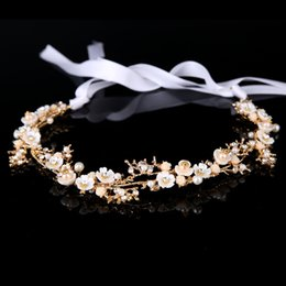 $enCountryForm.capitalKeyWord Australia - Cheap Jewelry KMVEXO Flowers Bridal Accessories Wedding Headpiece Hair Jewelry Bride Tiara Headband 2018 Luxury Hair Vine Pearl Hairbands