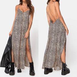 ab005adf544a Discount rayon sundresses - Summer Maxi Dress 2019 ZANZEA Women s Sundress  Sexy Leopard Print Spaghetti Strap