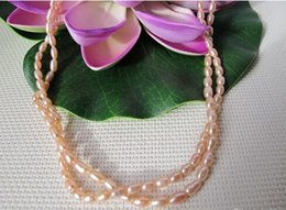 long silver knot necklace NZ - Hand knotted 2strands 4-7mm natural rice pink pearl necklace long 45-48cm fashion jewelry