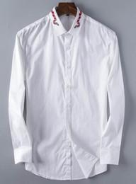 $enCountryForm.capitalKeyWord Australia - Shopping Snake Embroidery Men Casual Shirts Spring Autumn Man Solid Dress Shirt Fashion Long Sleeve Homme Male Business Tees Black White