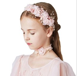 Pink heart stick online shopping - Pink Lovely Princess Series Korean Children s Jewelry Hair Ring Necklace Three piece Set