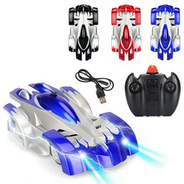 remote control car wall climbing Canada - Kids Educational Charging Remote Control Climbing Wall Car Toy Mini Wall Car Bright LED Light 360-Degree Rotation RC Cars