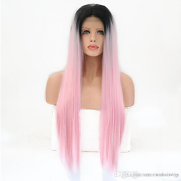 $enCountryForm.capitalKeyWord Australia - Hot Synthetic Lace Front Wig 2 Tones Ombre Pink Long Straight Layered Haircut Synthetic Hair Heat Resistant Wig Women's Cosplay Party W