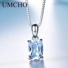 $enCountryForm.capitalKeyWord Australia - Umcho Solid 925 Sterling Silver Pendant Necklace Gemstone Sky Blue Topaz Necklace Romantic Wedding Gifts For Women Fine Jewelry Y19061203