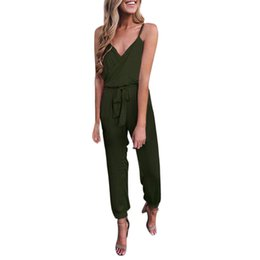 $enCountryForm.capitalKeyWord UK - Women Jumpsuit Strapless Sexy Solid Casual Overalls V-Neck Bandage Ruffled Sleeveless Elegant Brief Long Jumpsuits Body Mujer#ss