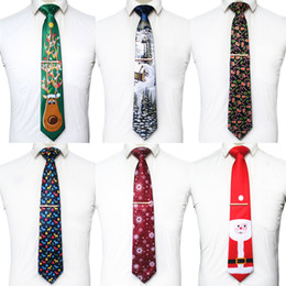 novelty christmas ties for men NZ - KAMBERFT Quality Christmas Ties for Men 9cm Snowflake Animal Tree Novelty Holiday Printed Necktie and Tie Clip Sets