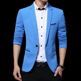 Wholesale new men black slim fit suit resale online - New Men Blazer Men Fashion Luxury Slim Suit Jackets Business Male Blazers Luxury High Quality Cotton Slim Fit Suit M XL