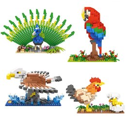 Bird Blocks Australia - LOZ Building Blocks Hen Chick Peacock Eagle Parrot Toy Child Anime Birds Diamond Blocks Model Brinquedos Toys for Children