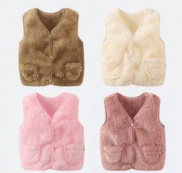 Spring Waistcoat Canada - Autumn Winter Fashion Children Warm Vest Faux Fur Pink Girls Vest 1-7 Years Kids Baby Girls Waistcoat Brand Fur Vest For Girls