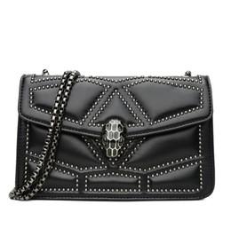 Locking Fashion Chains Australia - Designer- brand women handbag street trend three-dimensional diamond shoulder bag fashion snakehead lock hand bag INS super fire rivet chain
