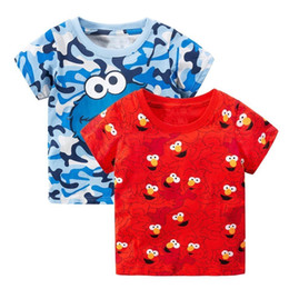 $enCountryForm.capitalKeyWord UK - 2pcs Sesame Street Elmo Print Baby Boys Tees 2018 Brand Hot Summer Clothes Kids T-shirts Clothing Children Short Sleeve Tshirts J190529