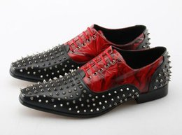 multi wedding dress Australia - Black-red Lace Up Spikes Men Dress Shoes Luxury Handmade Leather Men Loafers Wedding Flat Causal Shoes Size 46