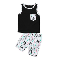 a6a074c2603f6 Summer 2PCS Baby Sets Boys Toddler Baby Boys Sleeveless Pocket T-Shirt  Vest+ Print Short Pants Set Baby Boy Clothes M8Y24