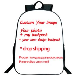 Discount coolest school bags - Drop shipping High Quality Customized Your image Custom pattern Backpack Students Boys Girls School Bag Cool Pattern Sch