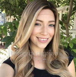 $enCountryForm.capitalKeyWord Australia - FZP :Hot Beautiful long Wavy Wig Simulation Human Ombre Blonde Hair Wigs Long Silky Wave Wigs For Women in stock
