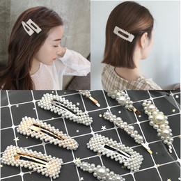 $enCountryForm.capitalKeyWord NZ - Fashion Pearl Hair Clip for Women Elegant Korean Design Snap Barrette Stick Gold Silver Metal Alloy Hair Clip Wedding pin
