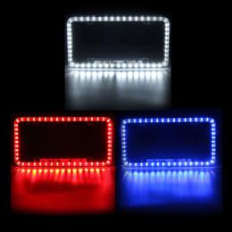 Venta al por mayor de Freeshipping Universal Azul / Blanco / Rojo Coche 54LED Iluminación Acrílico Plástico Matrícula Cubierta Marco