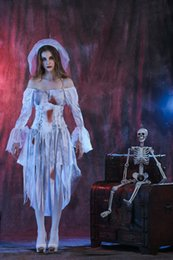 Discount woman horror costumes - Halloween Women Cosplay Halloween Costumes Ghost Bride Costume Bloody Horror White Wedding Dress Zombie Game Show Female