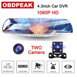 smart camera recorder 2019 - Newest 4.3 inch Full HD 1080P car DVR camera Smart rearview mirror car Automatic video recorder camera dashcan Dual Lens