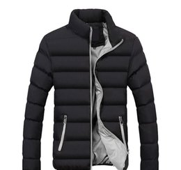mens long padded down parka Australia - Mens Designer Down Jackets Padded Coats Winter Long Sleeve Solid Color Outerwear Male Thick Parkas Asian Size Windbreaker