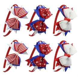 Crochet Ribbon Baby Headband UK - 9 Colors American flag Independence Day Baby girls big Bow Headband Kids Star stripe Hair Sticks Baby Headwear Boutique hair accessories