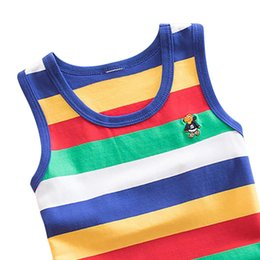 organic cotton tanks UK - WEIXINBUY 4 Striped Girls Boys Vest Sleeveless Tanks Tops For Girl Combed Cotton Kids Vest Camisoles Shirt Underwear