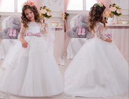Wedding Vest Pink Australia - Elegant Pink Sash Cute Long Sleeve Ball Gown Flower Girl Dress Pageant Party Dress For Wedding
