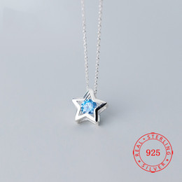 $enCountryForm.capitalKeyWord Australia - Hot Selling real 925 sterling silver small pendant five star five-pointed necklace with blue rhinestone import China jewelry