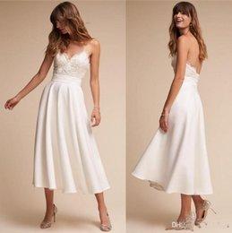 36aae67702e 2019 New Retro 1920s Tea Length BHLDN Wedding Dresses Simple A Line Spaghetti  Straps Sexy Backless Bridal Summer Wedding Gowns Cheap