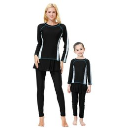 af931e05acb 2019 Muslim Women And Girls Family Matching Swimsuit Modest Bathing Suit  Plus Size Full Body Mother Daughter Swimwear Islamic