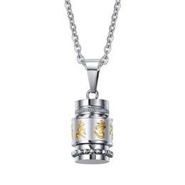 $enCountryForm.capitalKeyWord UK - Tibetan Style Classic Retro Menr's Buddhist Six-word Mantra Pendant Necklace Stainless Steel Cool Pendant Gift For Men Boys J692