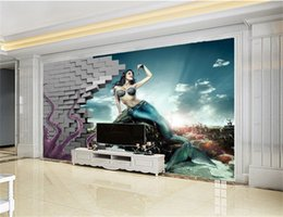 underwater 3d wallpaper Australia - 3d Wallpaper Living Room 3D Octopus Mythology Underwater World Mermaid Coral Digital Print Wall paper
