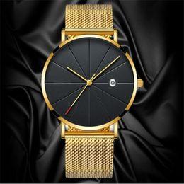 $enCountryForm.capitalKeyWord Australia - Luxury Fashion Business Watches Men Super Slim Watches Stainless Steel Mesh Belt Quartz Gold Men Gift 2019